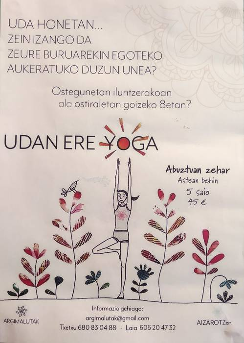 Yoga klaseak eginen dituzte abuztuan Aizarotzen