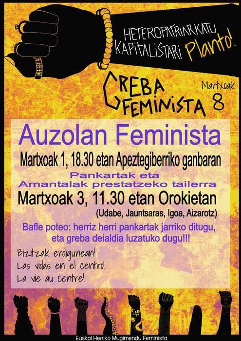 Greba feministari begira, giroa berotzen