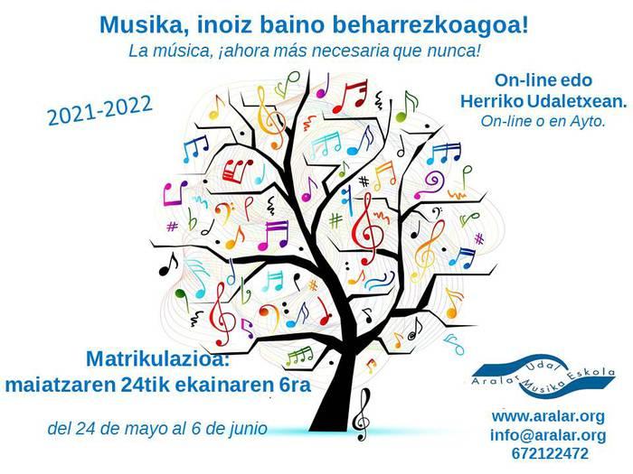 Aralar Musika Eskolan matrikulatzeko aukera, ekainaren 6a arte