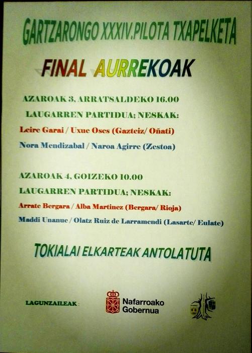 Azaroaren 3an eta 4ean ezagutuko ditugu Gartzarongo pilota txapelketako neska finalistak