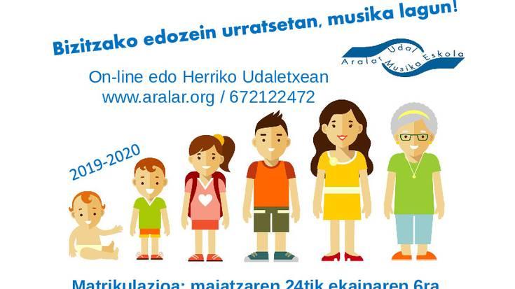 Aralar Musika Eskolak matrikulatzeko epea zabaldu du
