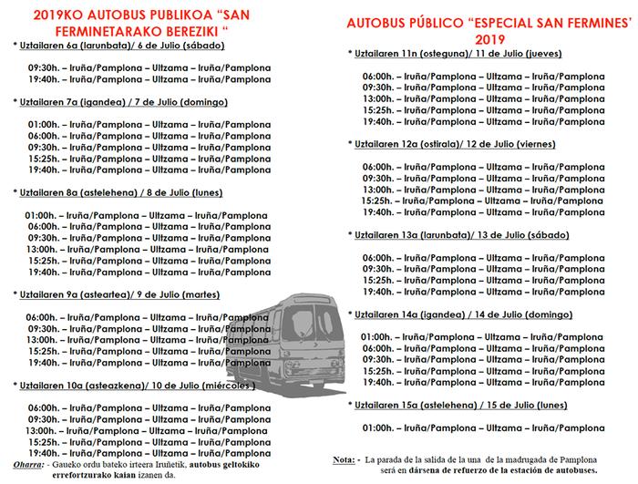 Iruñeko sanferminetarako autobus zerbitzu berezia jarriko dute Ultzamatik